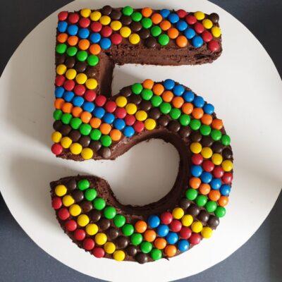 M&M Number Cake